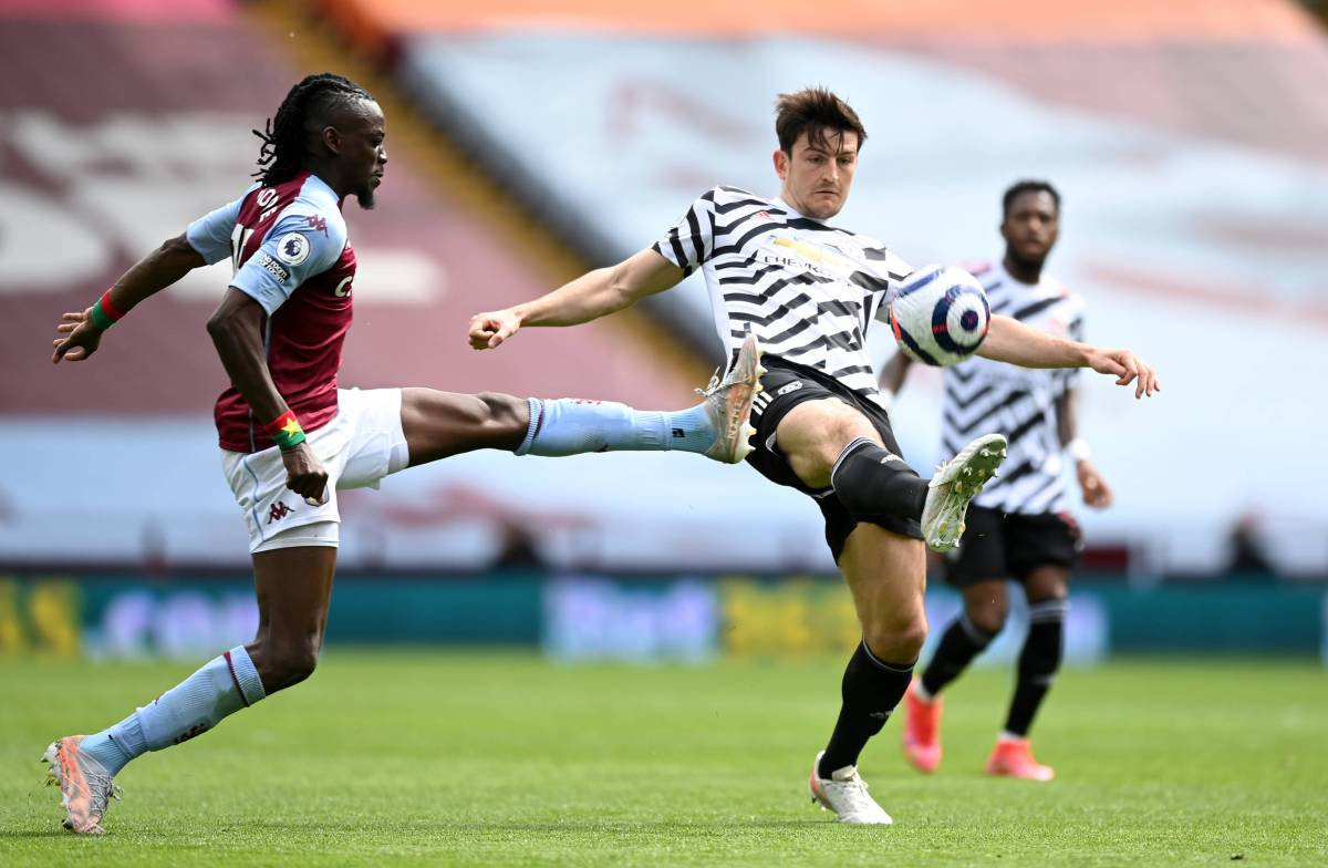Harry Maguire in action for Manchester United vs Villa