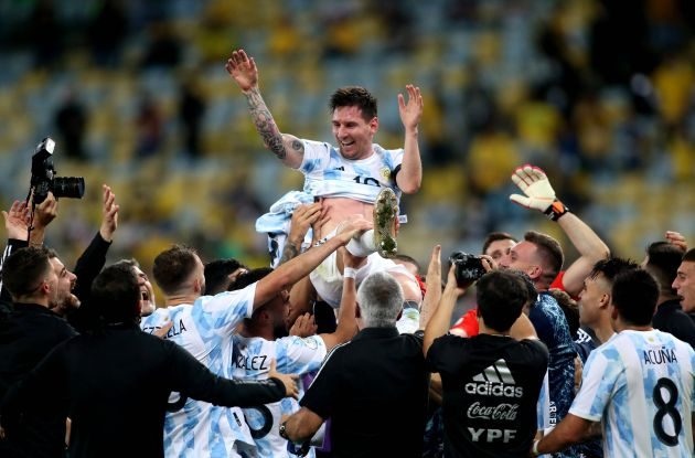 Lionel Messi lifted after winning Copa America with Argentina