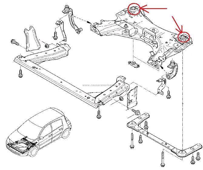 2 pz SILENT BLOCK TRAVERSA MOTORE RENAULT CLIO III MODUS