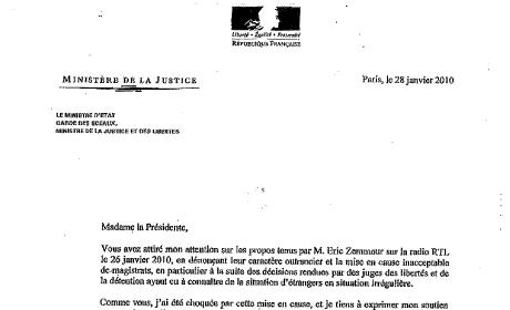 Affaire Zemmour : Michèle Alliot-Marie écrit au Syndicat de la Magistrature.