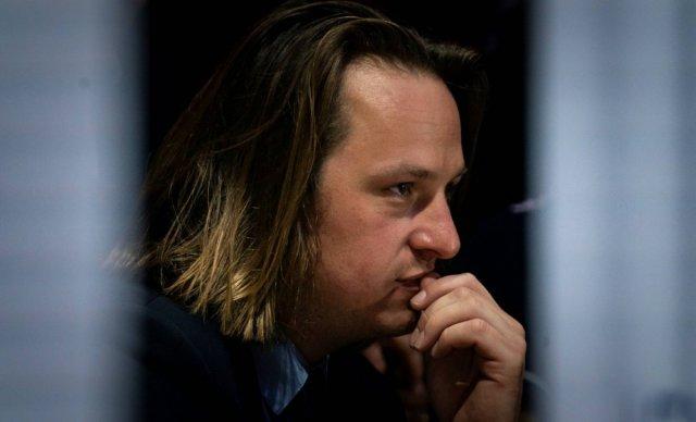 """Geoffroy Lejeune, directeur de la rédaction du magazine """"Valeurs actuelles"""" © Lionel BONAVENTURE / AFP"""