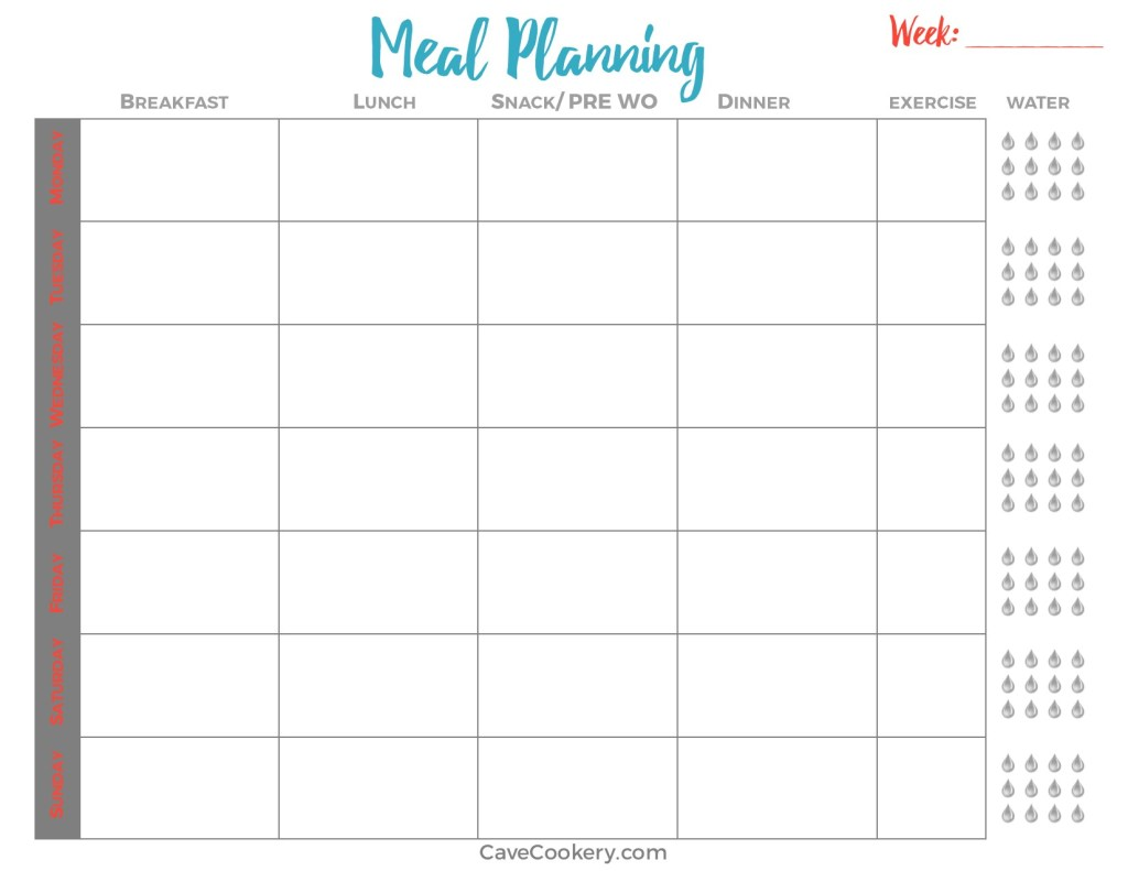 Whole Round Cave Cookery - Whole30 meal plan template