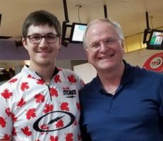 Raymond Lossier with Kevin Croucher (proprietor of Caveman Bowl)
