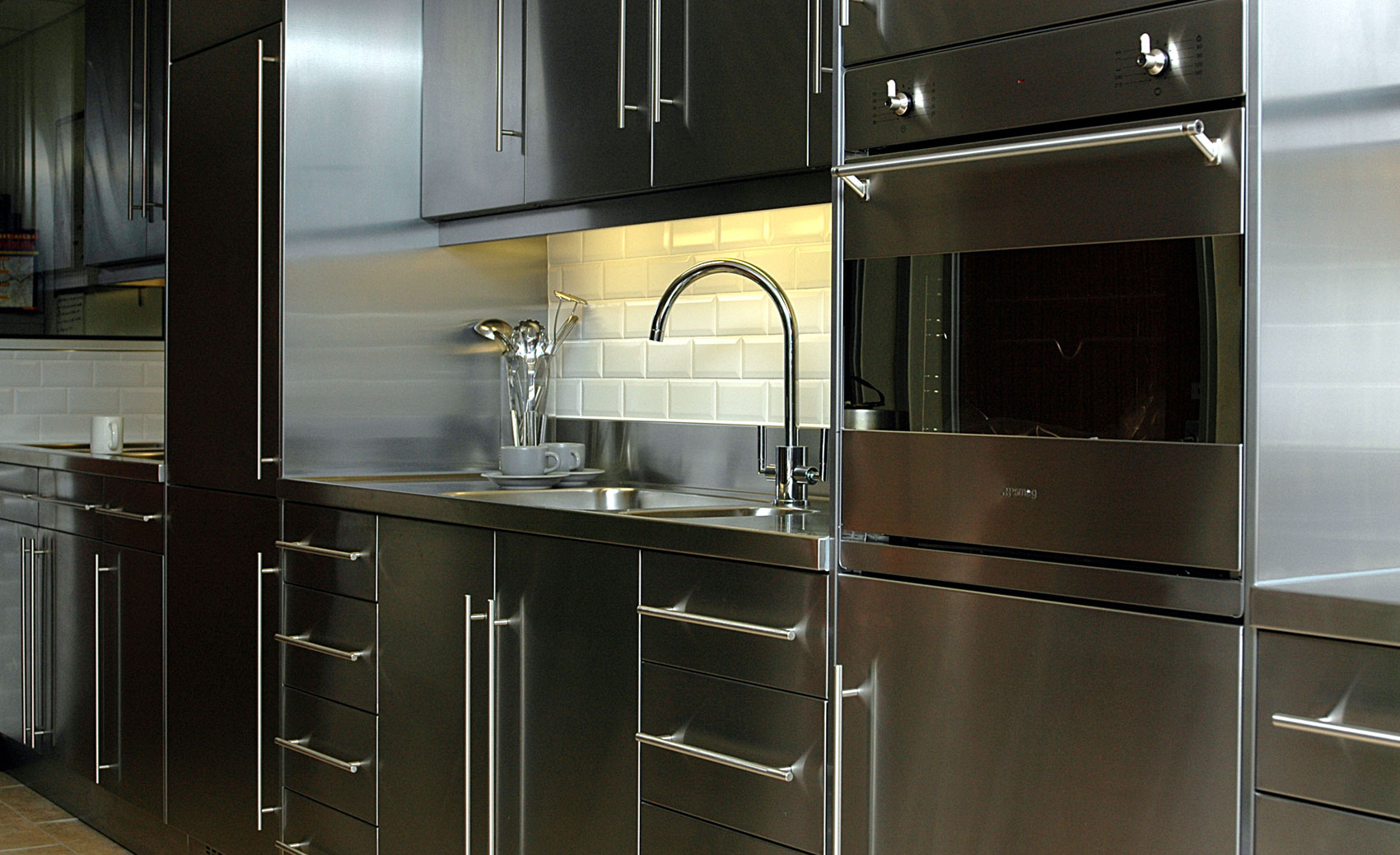 stainless kitchen apartment size appliances steel cabinet worktops splash backs uk cavendish equipment
