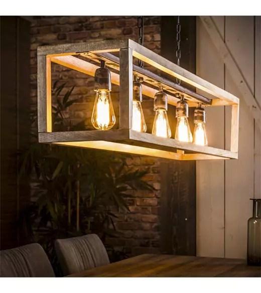 Houten hanglamp industrieel Dennis