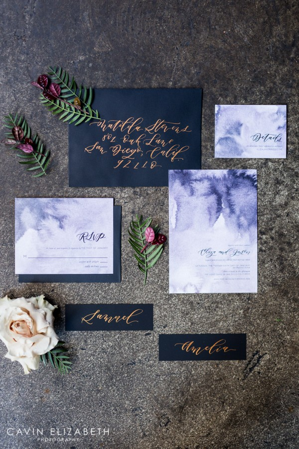 Wedding Invitation Tips Purple Watercolor And Black Invitations With Copper Calligraphy From Le