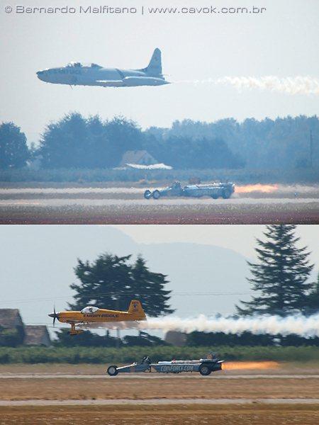 """As competições entre os aviões e o dragster """"Smoke & Thunder"""". (Foto: Bernardo Malfitano / Cavok)"""