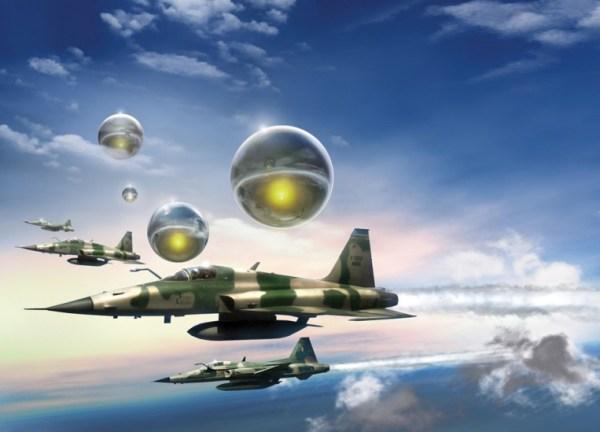 """""""A noite oficial dos discos voadores"""" ocorreu em 19 de maio de 1986, quando vários OVNIs foram interceptados por caças F-5 e Mirages. (Concepção artística: Revista UFO)"""