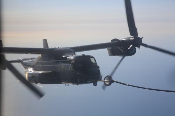 VMGR-252 aerial refuels HMX-1 during trans-Atlantic flight