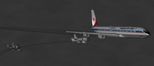 Representação artística da interceptação do KAL 902.