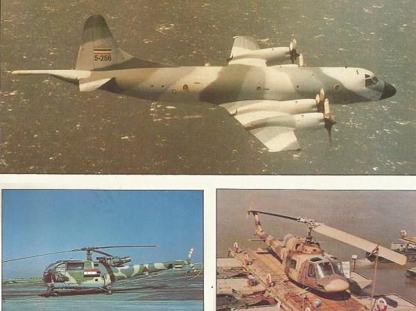 Acredita-se que apenas dois Lockheed P-3F Orion voassem com as cores da Marinha iraniana. Eles eram valiosos para observar a movimentação de petroleiros no golfo. Na foto de cima e a esquerda, um helicóptero Bell 214A, do Irã, capturado pelos iraquianos na região pantanosa na fronteira entre os dois países em conflito. Poucos aparelhos capturados foram aproveitados pelo outro lado. O Aérospatiale Alouette III foi usado pelo Iraque para missões ligeiras sobre o campo de batalha. Além de orientar a artilharia e funcionar como transporte leve, ele executava missões anticarro.