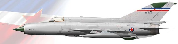 Esquema de cores dos MIG-21 da F.A. Iugoslava que fizeram a interceptação do 707 da Uganda Airlines.