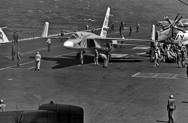CVW-11 RVAH-6 Fleurs RA-5C Vigilante BuNo 156632, NH-602, aboard the USS Kitty Hawk (CVA-63) 7 April 1975. HS-8 SH-3G Sea King BuNo 154116 is at right.