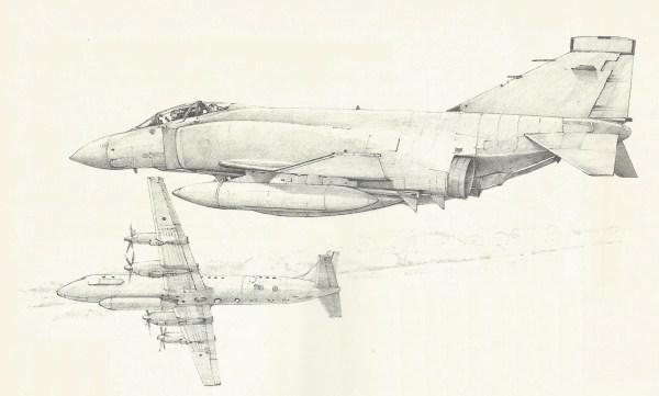 A ilustração representa um llyushin Il-20 soviético, destinado a recolher informações eletrônicas, sendo interceptado por um Phantom da RAF. No entanto, os aviões que mais comumente acionavam o sistema de alerta de reação rápida eram os Tupolev Tu-142, gigantes de asas enflechadas.