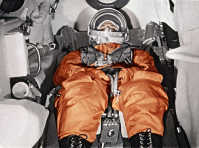 The First cosmonaut Yury Gagarin in cockpit of spaceship Vostok before takeoff. Cosmodrome Baikonur, April 12, 1961.(RIA Novosti)
