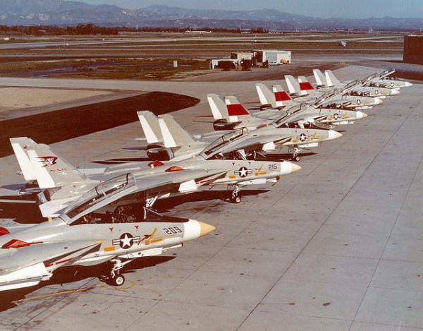 F-14A prototypes on the flight line at the Grumman plant in Calverton NY in 1972