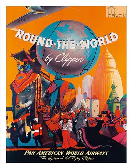 "Quadro da Pan American Airways com propaganda do seu voo ""round the world""."