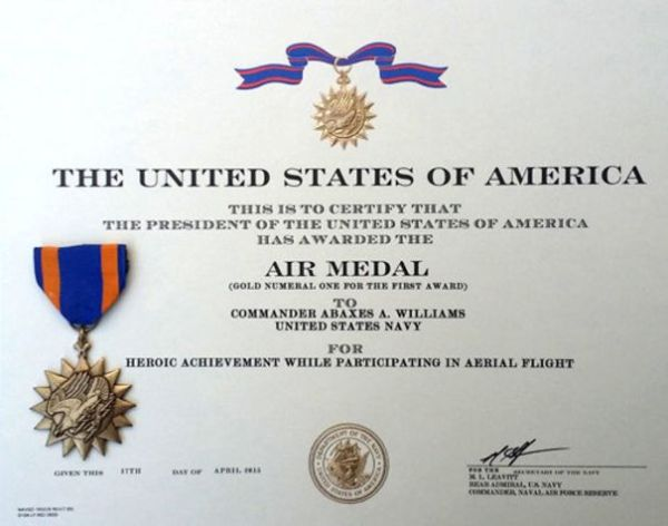 air medal certificate mainjpg bb091e9b52bdc457 600x472 - Piloto de Hornet atingido por raio retorna ao serviço