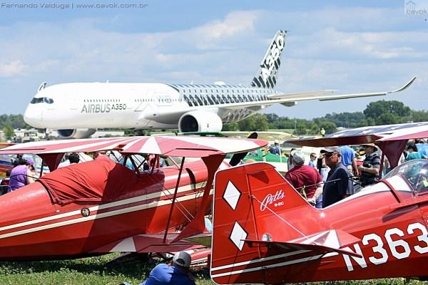 Na quarta-feira, o A350 realizou sua demonstração. (Foto: Fernando Valduga / Cavok Brasil)