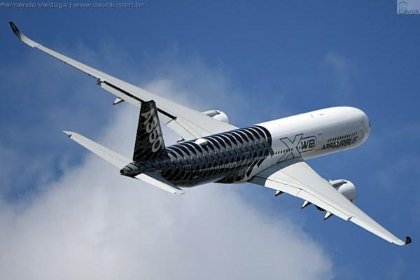 A aeronave A350 está realizando um tour pelas Américas. (Foto: Fernando Valduga / Cavok Brasil)