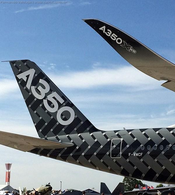 Detalhe do winglet e da cauda do A350. (Foto: Fernando Valduga / Cavok Brasil)