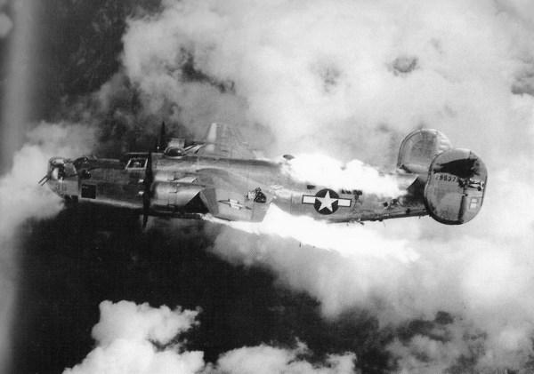 B-24 on fire