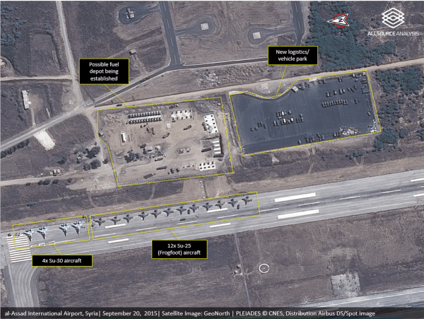 New from AllSourceA. Assad Airbase #Latakia. Possible new fuel dump, new logistics park, and 12 SU-25s+4 SU-30s.