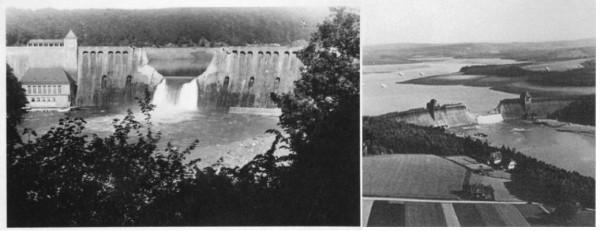 A represa de Eder (e) e Möhne (d) depois dos ataques