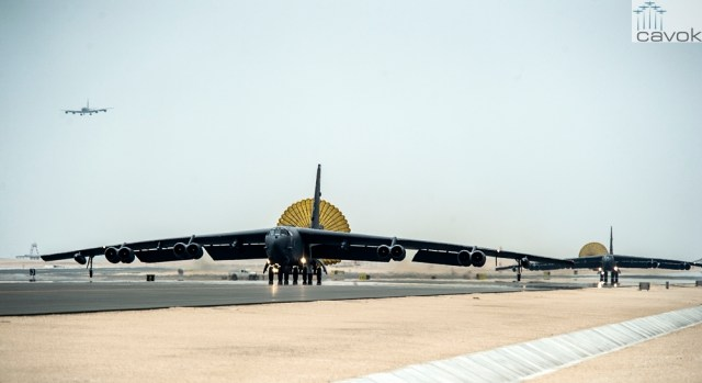 U.S. Air Force B-52 Stratofortress aircraft from Barksdale Air Force Base, Louisiana, arrive at Al Udeid Air Base, Qatar, April 9, 2016 in support of Operation Inherent Resolve, the operation to eliminate Da'esh and the threat they pose to Iraq, Syria and the wider international community, and as needed in the region. The B-52 offers diverse capabilities including the delivery of precision weapons. (U.S. Air Force photo by Tech. Sgt. Nathan Lipscomb/Released)