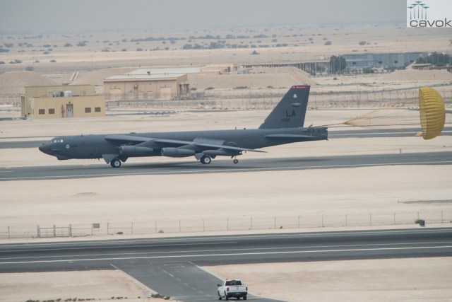 A B-52 Stratofortress from Barksdale Air Force Base, Louisiana, touches down at Al Udeid Air Base, Qatar, April 9, 2016. The B-52 offers diverse capabilities including the delivery of precision weapons. The aircraft and its crew have deployed in support Operation Inherent Resolve. This deployment is the first basing of the B-52s in the U.S. Central Command area of responsibility in 26 years. (U.S. Air Force photo by Staff Sgt. Corey Hook/Released)