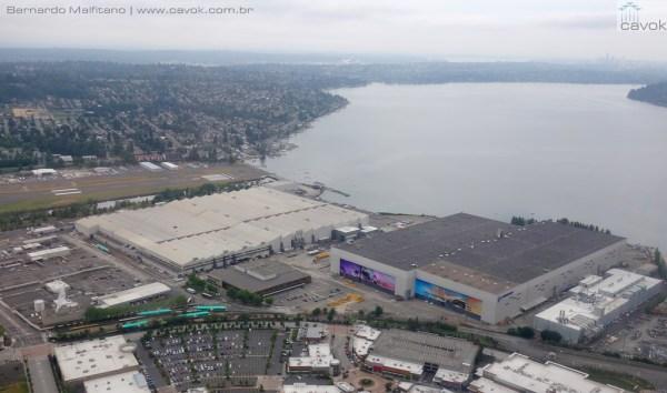 Vista aérea do complexo fabril da Boeing em Renton. (Foto: Bernardo Malfitano / Cavok)