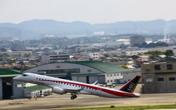 A segunda aeronave de testes do MRJ decolou do Aeroporto de Nagoya, no Japão. (Foto: Mitsubishi Heavy Industries)