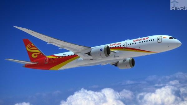 As aeronaves 787-9 da Hainan Airlines terão motores GE. (Foto: Boeing)