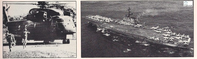 Fuzileiros navais correm para o HH-53C Jolly na terceira e última tentativa de resgate, sob o fogo de cobertura de aviões norte-americanos. Acima, à direita, o porta-aviões USS Coral Sea e sua 15ª ala, que deram a base para a tentativa de resgate. A 15,a ala fez um ataque bem-sucedido com A-7D Corsair lI e A-6 Iintruder contra o aeroporto de Ream.