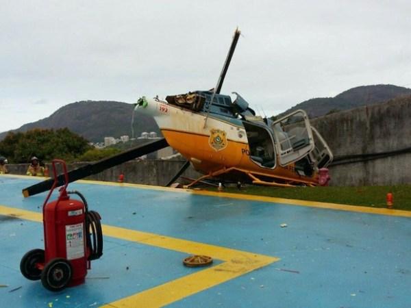 O helicóptero Bell 407 sofreu danos consideráveis devido ao pouso forçado no heliponto do Palácio da Guanabara, no Rio de Janeiro.