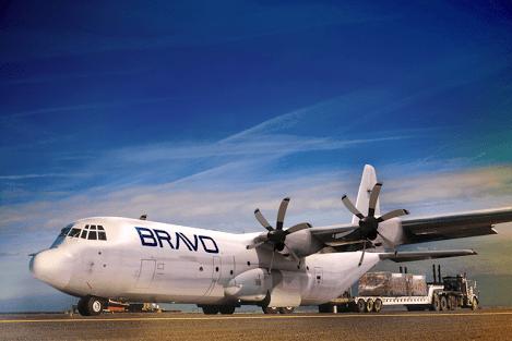 Aeronave cargueira LM-100J nas cores da Bravo Industries