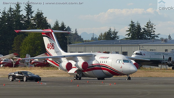 BAe 146 convertido como aeronave de combate a incêndio. (Foto: Bernardo Malfitano / Cavok)