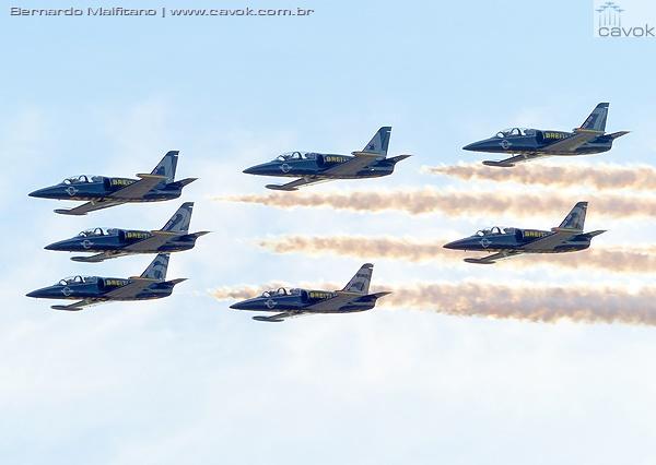 Bretling Jet Team com seus treinadores L-39. (Foto: Bernardo Malfitano / Cavok)