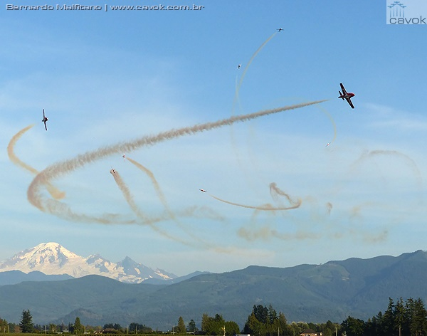"A nova manobra ""Battle of Britain"" dos Snowbirds. (Foto: Bernardo Malfitano / Cavok)"