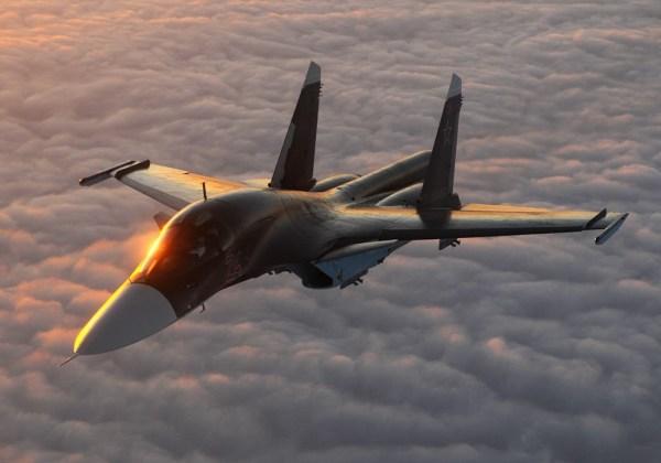 Um caça bombardeiro Su-34 Fullback da Rússia. (Foto: Sergey Krivchikov)