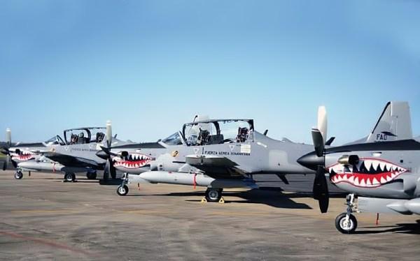 Aeronaves Super Tucano da Força Aérea da República Dominicana.
