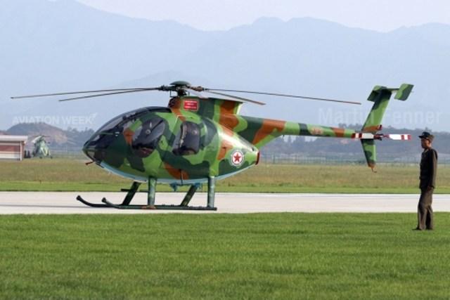 MD500D A aparência dos Hughes MD500D feitos nos EUA (hoje MD Helicopters), um helicóptero leve monoturbina na Coreia do Norte pode parecer como uma surpresa para muitos, mas dezenas destas máquinas foram exportadas ilegalmente para o país durante a década de 1980, e as imagens de Wonsan estão entre as primeiras fotografias claras dessas máquinas. Acredita-se que alguns foram convertidos em helicópteros de ataque leve equipados com mísseis anti-tanque guiado por fio de fabricação russa.