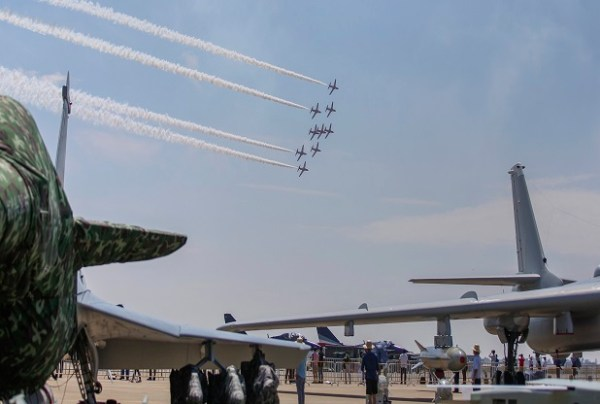 RAF RED ARROWS PERFORM FINAL PRACTICE BEFORE FIRST EVER DISPLAY IN CHINA
