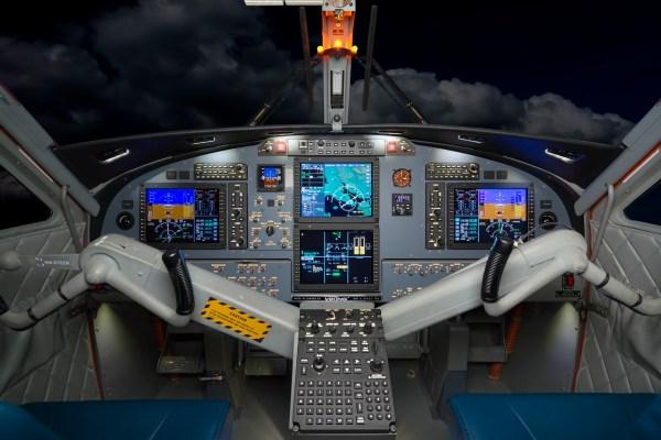 A cabine de comando do Twin Otter Series 400 com aviônicos Honeywell Primus Apex.