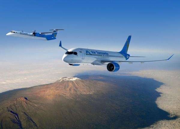 Aeronaves CS300 e Q400 da Bombardier nas cores da Air Tanzania, sobrevoando o Monte Kilimanjaro. (Foto: Bombardier)