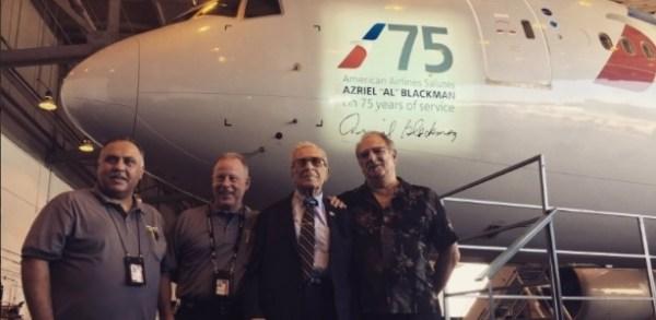 azriel blackman500398312784 615x300 600x293 - American Airlines dedica Boeing 777 a mecânico de 91 anos que completou 75 anos de serviços pela companhia