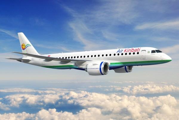 E190 E2 Air Kiribati 2100x1182 6aa580a4 694e 4cdf 83de 43fdb2e89ec9 600x402 - Embraer assina contrato com Air Kiribati para até quatro jatos E190-E2