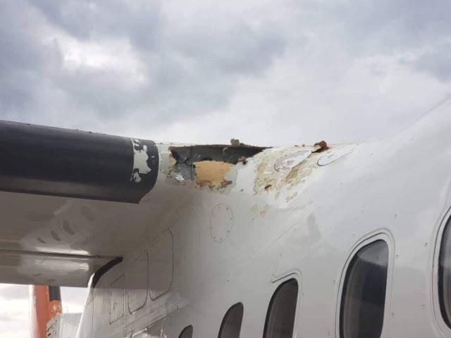 DASH 8 PROFLIGHT 102 - IMAGENS: Aeronave Dash 8 fica seriamente danificada por granizo e raio durante aproximação