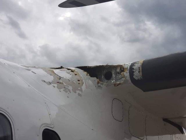 DASH 8 PROFLIGHT 106 - IMAGENS: Aeronave Dash 8 fica seriamente danificada por granizo e raio durante aproximação
