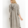 Open Fron Longline Hoodie Cardigan with Jersey Stitch Back
